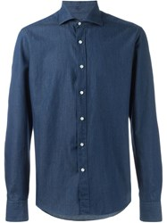 Fay Spread Collar Denim Shirt Blue