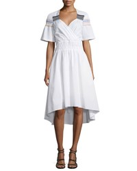 Peter Pilotto Smocked Short Sleeve High Low Dress White