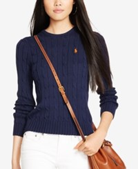 Polo Ralph Lauren Cable Knit Cotton Sweater Navy