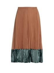 Valentino Velvet Panel Pleated Silk Georgette Midi Skirt Nude Multi