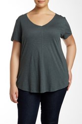 14Th And Union V Neck Short Sleeve Tee Plus Size Green
