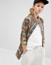 Daisy Street Parka Jacket In Camo Khaki Multi Green