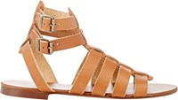 Barneys New York Double Buckle Gladiator Sandals Brown