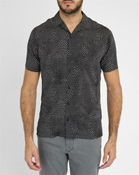 Ikks Black Short Sleeve Flowing Shirt With White Pattern