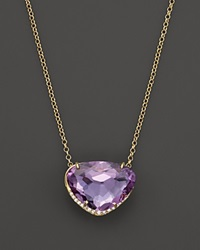 Vianna Brasil 18K Yellow Gold Necklace With Amethyst And Diamond Accents 16.5 Purple Gold
