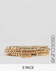 Asos Curve Pack Of 3 Gold Stretch Bead Friendship Bracelets Gold