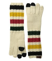 Pendleton Chunky Knit Long Gloves Glacier Park Stripe Wool Gloves Beige