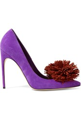 Brian Atwood Alis Embellished Suede Pumps Purple