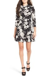 Lush Women's Floral Print Mock Neck Skater Dress
