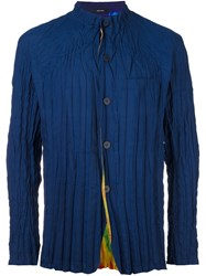 Issey Miyake Men Rumpled Reversible Shirt Blue
