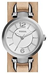 Women's Fossil 'Georgia' Round Leather Cuff Watch 26Mm