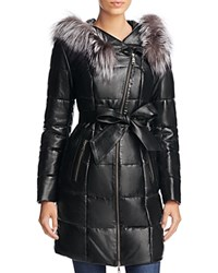 Maximilian Furs Fox Fur Trim Quilted Leather Puffer Coat Black Silver