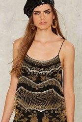 Nasty Gal Bead Of My Heart Fringe Top Black