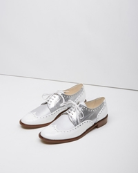 Robert Clergerie Joella Two Tone Wingtip Oxford Silver And White