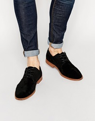 New Look Derby Shoes In Faux Suede Black