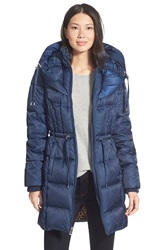 Betsey Johnson Quilted Puffer Coat With Convertible Pillow Collar Hood Marine Navy