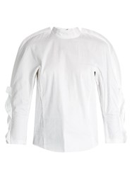 Toga High Neck Micro Pleated Top White