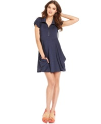 Kensie Flutter Sleeve Draped French Terry Dress Navy