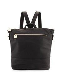 Neiman Marcus Pebbled Faux Leather Convertible Bucket Backpack Black