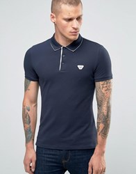 Armani Jeans Polo Shirt With Back Collar Print In Navy Slim Fit Navy