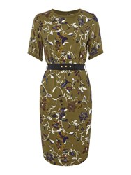Noa Noa Dress With Short Sleeve And Retro Flower Pattern Green