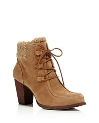 Ugg Analise Lace Up High Heel Booties Chestnut