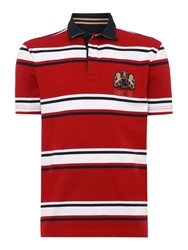 Howick Hursley Stripe Short Sleeve Rugby White And Red