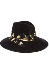 Eugenia Kim Emmanuelle Feather Trimmed Rabbit Felt Fedora Black
