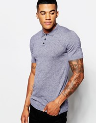 Asos Muscle Fit Knitted Polo Shirt Bluetwist