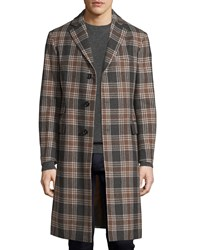 Luciano Barbera Plaid Wool Three Button Overcoat Brown Gray