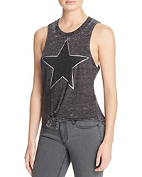 Chaser Star Burnout Tie Front Tank Black