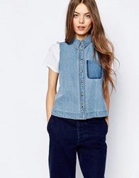 Asos Denim Sleeveless Shirt With Raw Edge And Shadow Pocket Midwash Blue