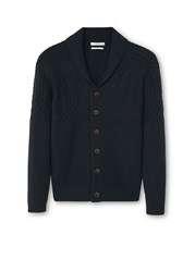 Mango Chunky Knit Wool Blend Cardigan Black