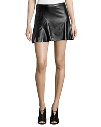 10 Crosby Derek Lam Faux Leather Curved Seam A Line Skirt Black