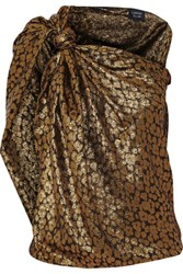 Lanvin One Shoulder Printed Silk Blend Lame Top Gold