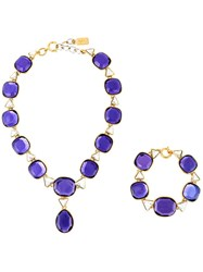 Yves Saint Laurent Vintage Chunky Glass Necklace Pink And Purple
