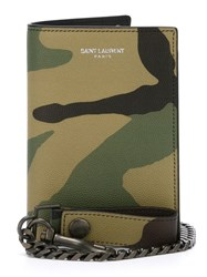 Saint Laurent 'Rider' Chain Wallet Green