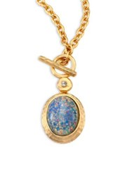 Kenneth Jay Lane Blue Opal And Crystal Toggle Pendant Necklace Satin Gold