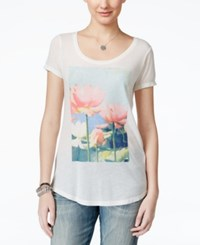 Lucky Brand Jeans Brushstroke Lotus Graphic Tunic T Shirt White