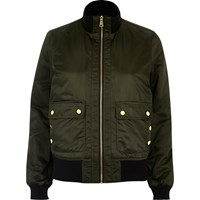 River Island Womens Khaki Green High Neck Bomber Jacket