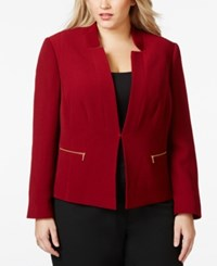 Tahari By Arthur S. Levine Tahari Asl Plus Size Textured Zip Pocket Jacket