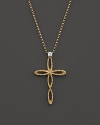 Roberto Coin Braided Barocco Diamond Cross Pendant Necklace In 18K Yellow And White Gold 16