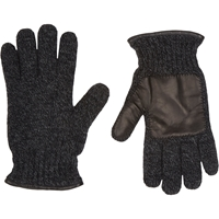 Barneys New York Leather Trim Knit Gloves Charcoal