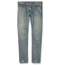 Saint Laurent Slim Fit Distressed Stretch Denim Jeans Blue