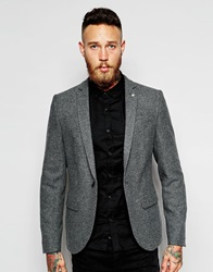 Noose And Monkey Flannel Blazer In Skinny Fit Grey