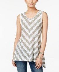 Styleandco. Style And Co. Chevron Stripe Sleeveless Top Only At Macy's Textured Stripe Olive