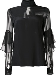 Prabal Gurung Sheer Panel Blouse Black