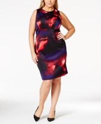 Calvin Klein Plus Size Abstract Print Sheath Dress Night Rouge