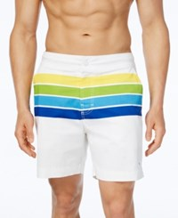 Tommy Hilfiger Men's Sunset Stripe Board Shorts Snow White