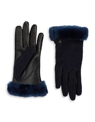 Ugg Faux Fur Lined Shearling Cuff Wool Blend And Leather Gloves Indigo Blue